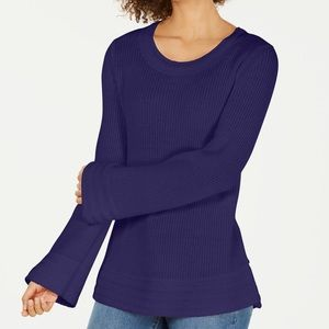 Style&Co Flare-Sleeve Contrast-Border Sweater